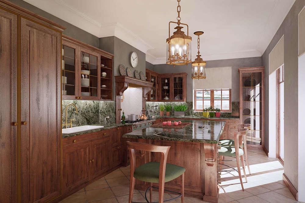 кухня красное дерево 1