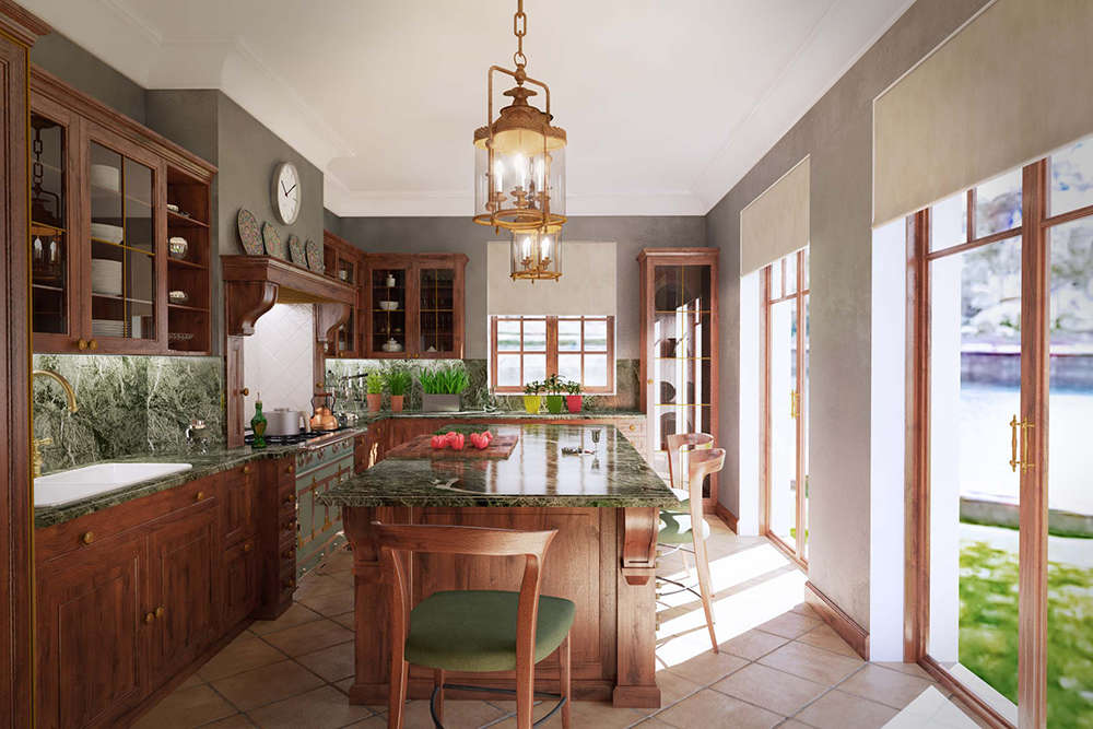 кухня красное дерево 2