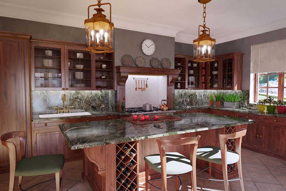 кухня красное дерево 3