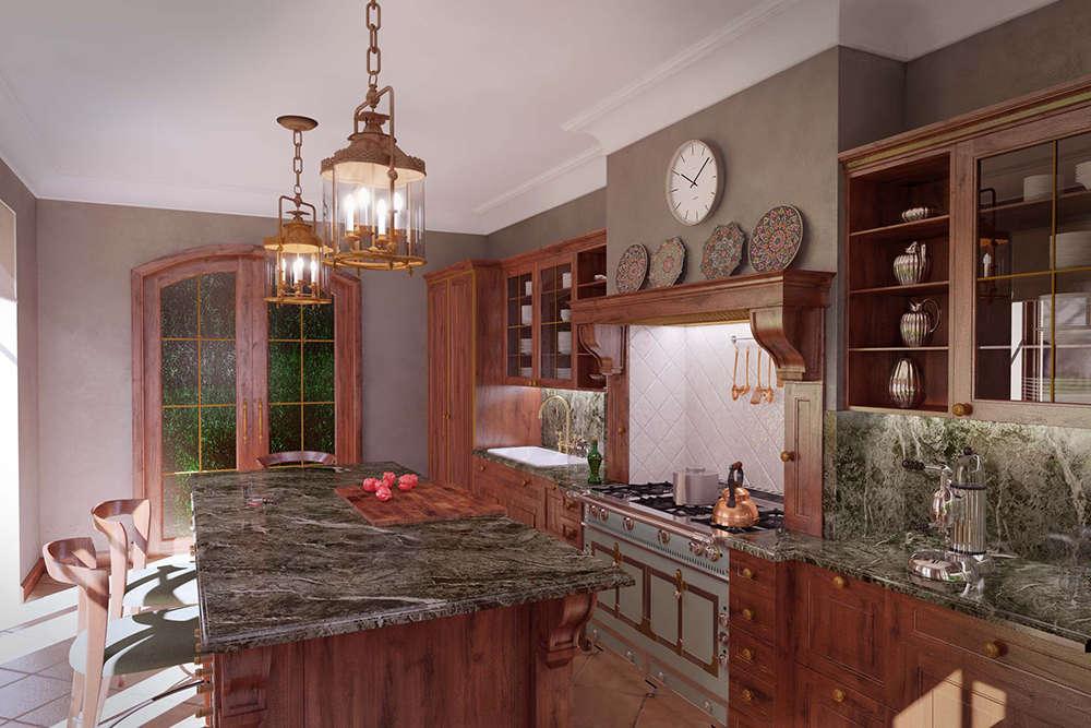 кухня красное дерево 4